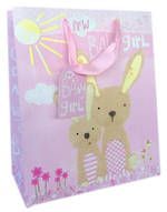 Medium Gift Bag Baby Girl Bunnies
