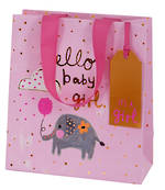 Medium Gift Bag Baby Girl Tiny Elephant