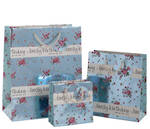 Small Gift Bag Female Floral Blue Foil