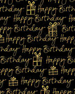 Sheet Wrap Birthday Black Gold