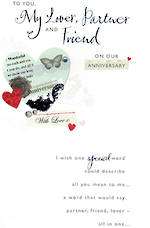 Anniversary Card Our Hallmark Sequined Red