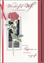 Anniversary Card Hallmark Large Wife Rose & Ribbon
