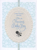 Baby Christening Card Baby Boy Rattle