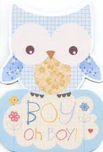 Baby Card Boy Owl Shape