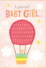 Baby Card Girl Hot Air Balloon