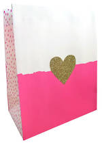 Medium Gift Bag Glitter Heart