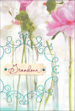Grandmother Birthday Card Hallmark Grandma Flowers Glass Vases