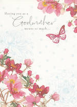 Godmother Birthday Card: Printed Flowers