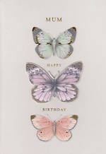 Mum Birthday Card Hallmark Three Butterflies