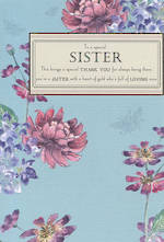 Sister Birthday Card Aqua Flowers