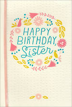 Sister Birthday Card Hallmark Large Wreath