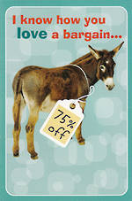 Hallmark Humorous Birthday Card: Donkey Cheap Ass Bargain