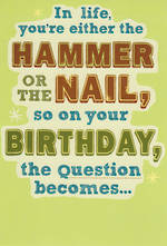 Hallmark Humorous Birthday Card Hammer Nail