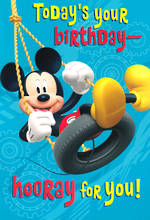 Hallmark Interactive Birthday Card Boy Mickey on Swing