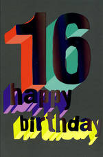 Birthday Age Card 16 Male Teen Happy Birthdy
