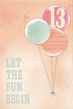 Birthday Age Card 13 Female Balloons