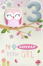 Birthday Age Card 3 Girl Owl