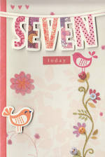 Birthday Age Card 7 Girl Bunting