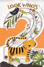 Birthday Age Card 2 Boy Tiger & Bird
