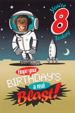 Birthday Age Card 8 Boy Space Chimp