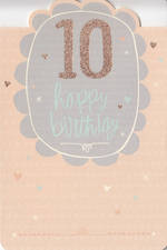 Birthday Age Card 10 Girl Diecut Flower