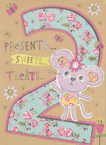 Age Card 2 Girl Mouse Flowers