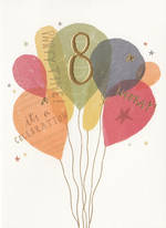 Age Card 8 Girl Balloons