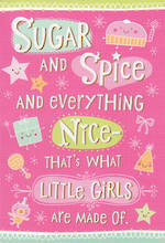 First Birthday Age Card 1 Girl Sugar Spice