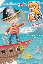 Birthday Age Card 3 Boy Pirate Matey