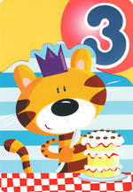 Birthday Age Card 3 Boy Tiger & Cake