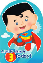 Birthday Age Card 3 Boy Little Heros