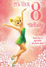 Birthday Age Card 8 Girl Fairies Disney