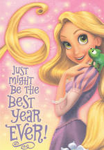 Birthday Age Card 6 Girl Tangled Disney