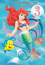 Birthday Age Card 3 Girl Ariel