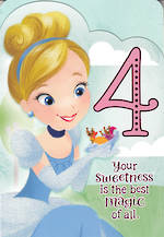Birthday Age Card 4 Girl Cinderella