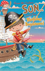 Son Birthday Card: Hallmark Juvenile Pirate Ship