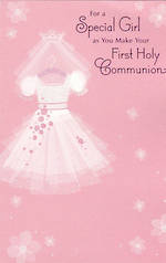 Communion Card Religious Girl