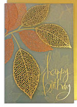 Hallmark Signature Birthday Gold Leaves