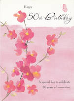 Birthday Age Card 50 Female Pink Flowers