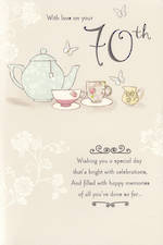 Birthday Age Card 70 Female Tea