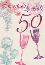 Age Card 50 Female Pink Foil