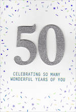 Birthday Age Card 50 Male Large Birthday Silver