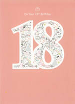 Birthday Age Card 18 Female Pink Icons