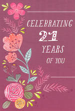 Age Card 21 Female Birthday Violet Flowers