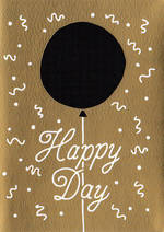 Hallmark Studio Ink Black & Gold Foil Balloon