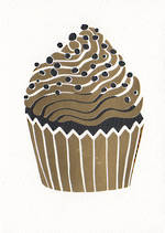 Hallmark Studio Ink Black & Gold Foil Cupcake