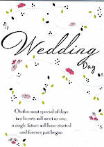 Wedding Card Hallmark Modern Flowers Swirls