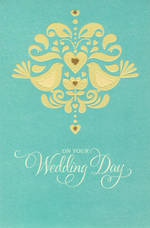 Wedding Card Hallmark Bronzing Hearts Birds