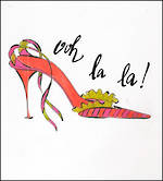 Blank Card: Jadore - Ooh La La! Red Shoe