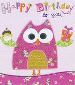 Mini Card Happy Birthday Pink Owl